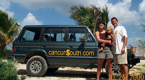 Antony and Leah with the CancunSouth.com car